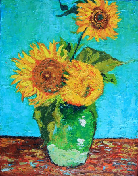 Three Sunflowers In A Vase After Van Gogh Kathleen Hall