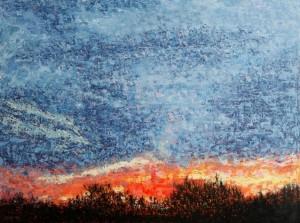 Kathleen Hall, Sky Fire, oil on canvas, 48 x 36 © The Artist