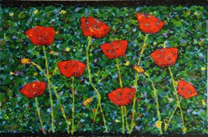 Red Poppies on Green, oil on canvas, 30 X 20 (c) Kathleen Hall