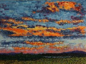 Sunset Over Thompson Island, oil on canvas, 40 X 30 (c) Kathleen Hall