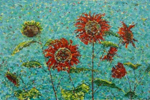 Dancing Red Sunflowers, oil on canvas, 36 x 24 (c) Kathleen Hall