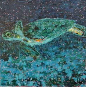Sea Turtle, oil on canvas, 10 X 10 (c) Kathleen Hall