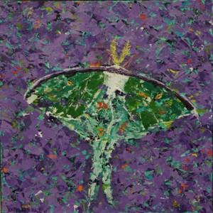 Luna Moth, oil on canvas, 10 X 10 (c) Kathleen Hall