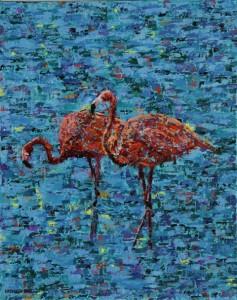 Flamingos, oil on canvas, 16 X 20 (c) Kathleen Hall