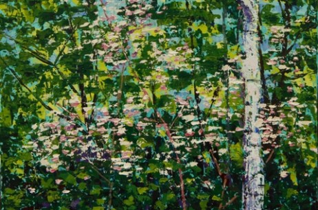 Birch with Pink Flowers