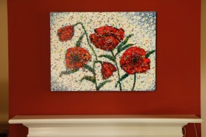 poppies over mantel